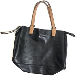 Nicole Miller Black Leather Shoulder Bag